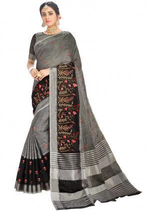 Woven Linen Saree in Grey