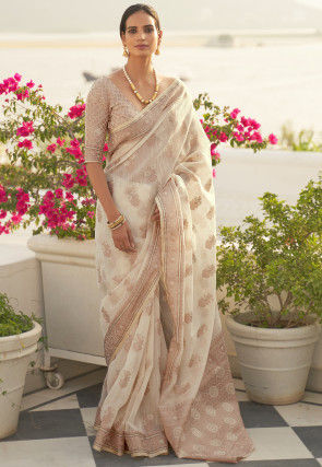 Woven Linen Saree in Off White