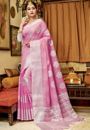 Woven Linen Saree in Pink
