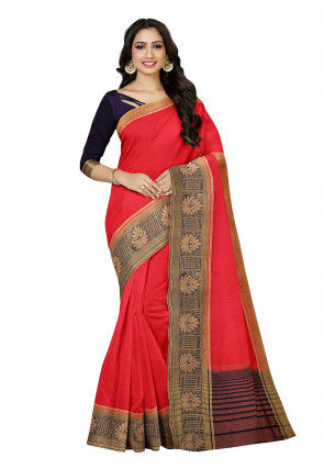 Woven Linen Saree in Red