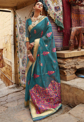 Woven Linen Saree in Teal Green