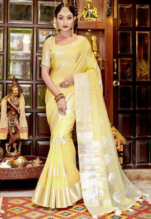 Woven Linen Saree in Yellow