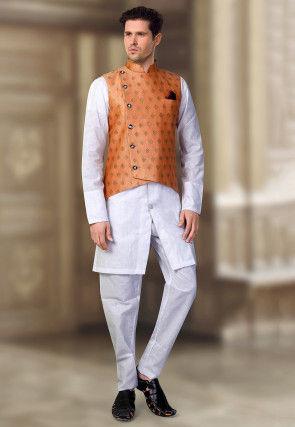 Woven Linen Silk Kurta Jacket Set in Off White and Dusty
