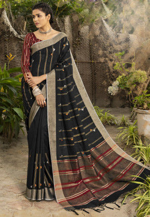 Woven Linen Silk Saree in Black