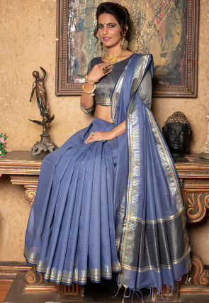 Woven Linen Silk Saree in Blue