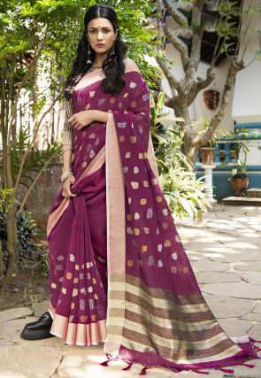 Woven Linen Silk Saree in Magenta
