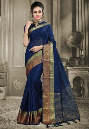 Woven Linen Silk Saree in Navy Blue