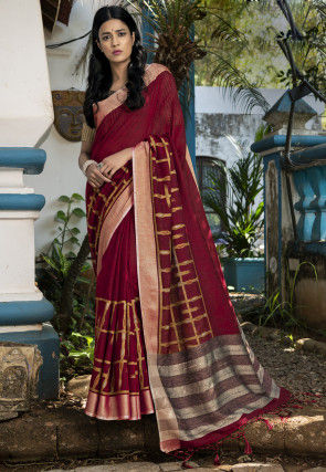 Woven Linen Silk Saree in Red