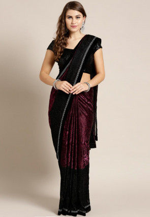 Woven Lycra and Net Jacquard Saree in Wine and Black