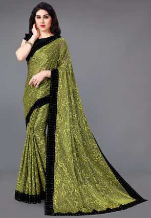 Woven Lycra Jacquard Saree in Light Olive Green