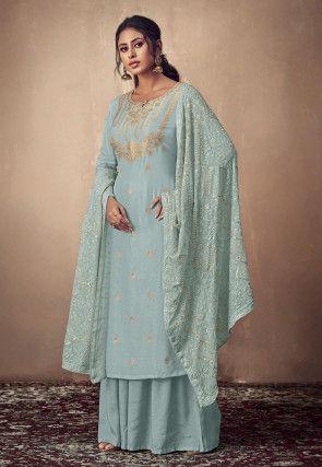 Woven Muslin Silk Jacquard Pakistani Suit in Pastel Blue
