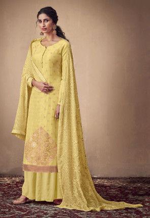 Woven Muslin Silk Jacquard Pakistani Suit in Yellow