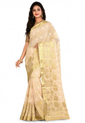 Woven Mysore Chiffon Saree in Light Beige