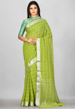 Woven Mysore Chiffon Saree in Light Green