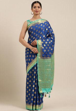 Woven Mysore Crepe Saree in Dark Blue