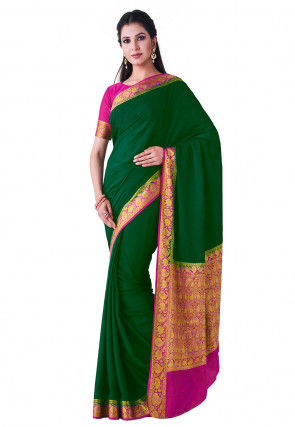 Woven Mysore Crepe Saree in Dark Green