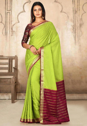 Woven Mysore Crepe Saree in Light Green