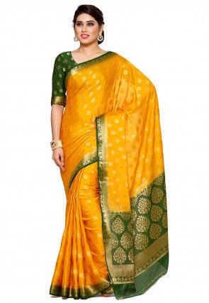 Woven Mysore Crepe Saree in Mustard