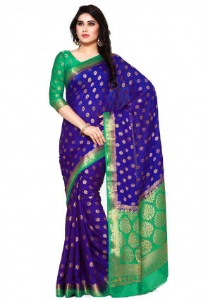 Woven Mysore Crepe Saree in Navy Blue