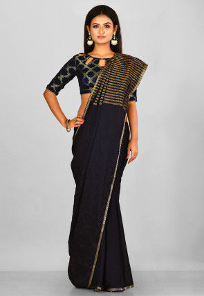 Woven  Mysore Crepe Silk Saree in Black