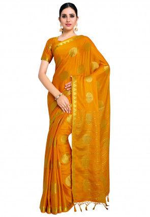 Woven Mysore Crepe Silk Saree in Mustard