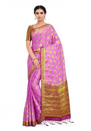 Woven Mysore Crepe Silk Saree in Pink