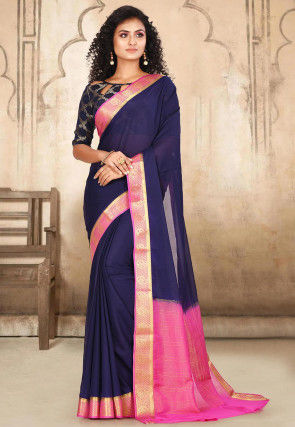 Woven Mysore Satin Georgette Saree in Navy Blue