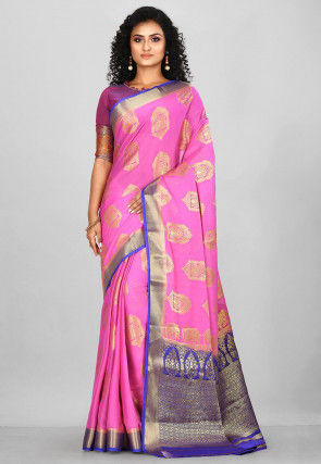 Woven Mysore Satin Georgette Saree in Pink