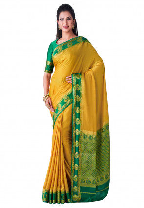 Woven Mysore Silk Crepe Saree in Light Mustard