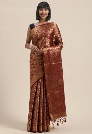Woven Mysore Silk Saree in Maroon