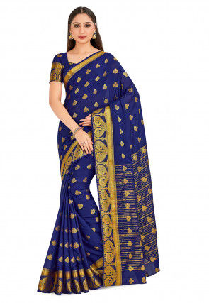 Woven Mysore Silk Saree in Navy Blue