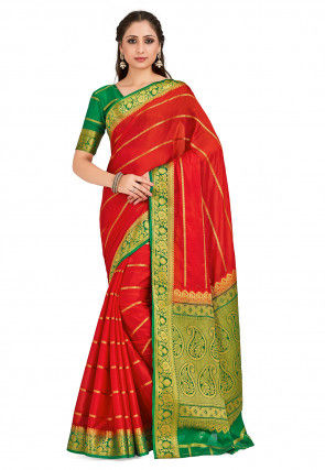 Woven Mysore Silk Saree in Red
