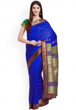 Woven Narayanpet Art Silk Saree in Royal Blue