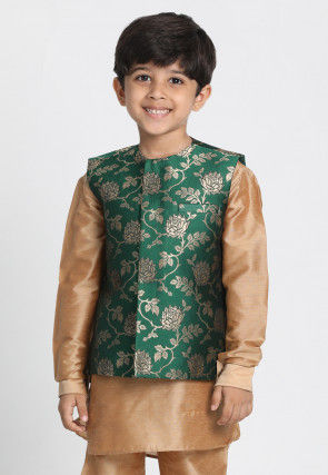 Woven Cotton Silk Jacquard Nehru Jacket in Dark Green