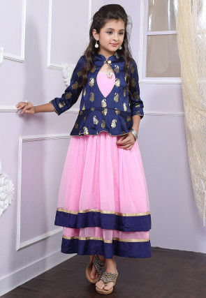 Woven Net A Line Kurta with Attached Jacket in Pink and Navy Blue