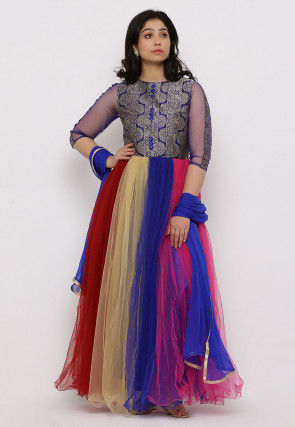 Woven Net Abaya Style Suit in Multicolor and Blue