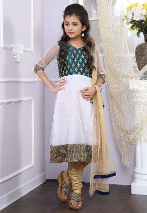 Woven Net Anarkali Suit in White and Teal Green