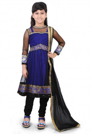 Woven Net and Art Silk Anarkali Suit in Black and Royal Blue
