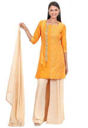 Woven Net Brasso and Cotton Silk Pakistani Suit in Mustard