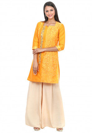 Woven Net Brasso and Cotton Silk Straight Kurta in Mustard