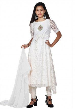 Woven Net Brasso Asymmetric A Line Suit in White