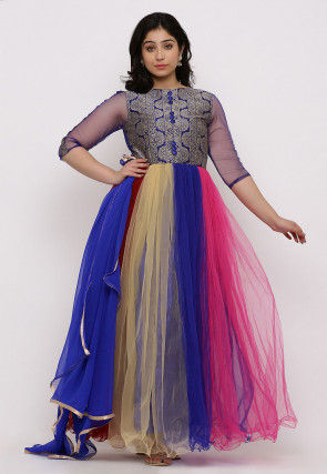 Woven Net Gown in Multicolor and Blue