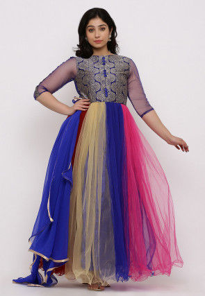 Woven Net Gown Set in Multicolor and Blue