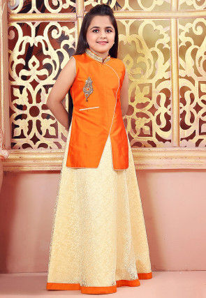 Woven Net Jacquard Gown in Orange and Light Yellow