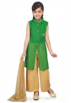 Woven Net Jacquard Pakistani Suit in Green