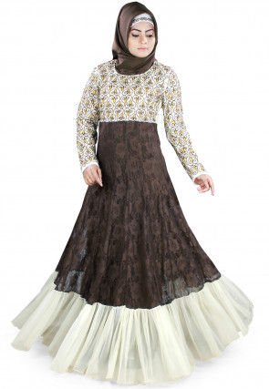 Woven Net Jacquard Ruffled Abaya in Brown and Off White