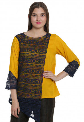 Woven Net Jacquard Top in Navy Blue and Mustard
