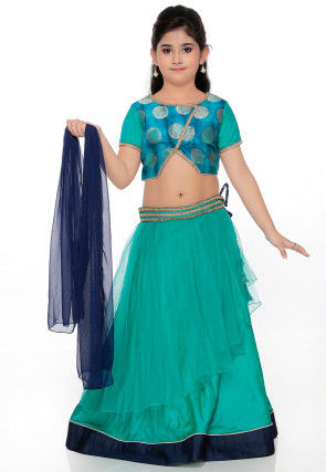 Woven Net Lehenga in Teal Green