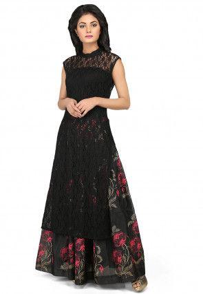 Woven Net Long Kurta Set in Black