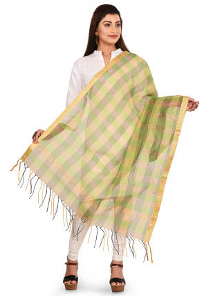 Woven Noil Silk Dupatta in Light Green and Multicolor
